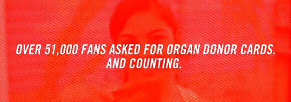 51,000人以上がオリジナルのドナーカードを求めた。